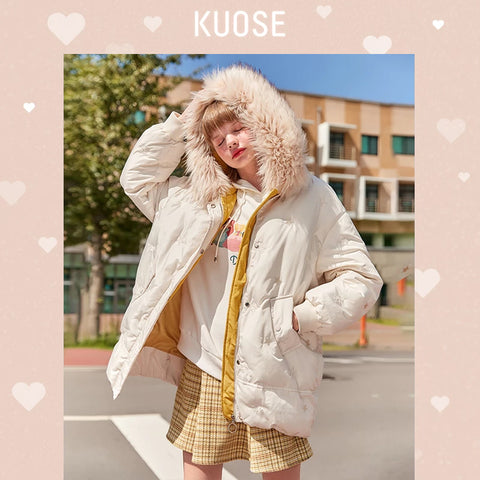 KUOSE Hooded Fur Collar Loose Cotton Jacket