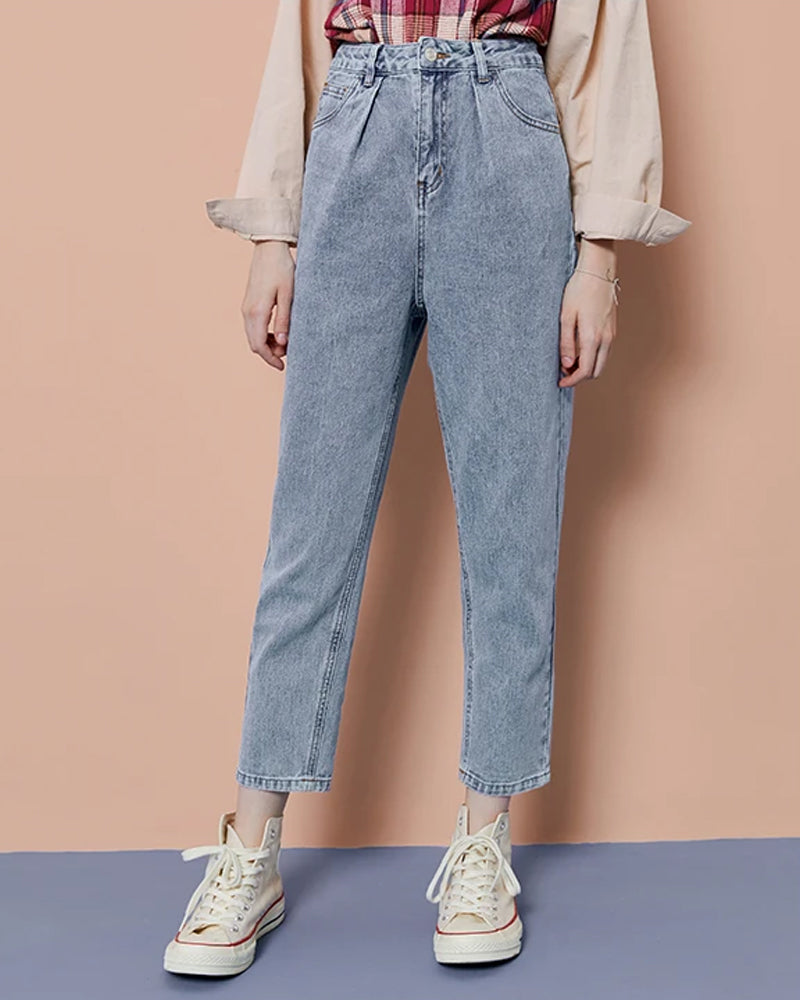 KUOSE Vintage Style High Waist Loose Casual Jeans