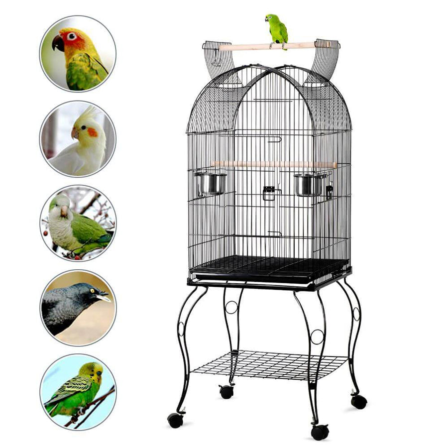Pawscoo 59-inch Rolling Standing Medium Dome Bird Cage - PawscooYaheetech 55-inch Triple Roof Rolling Bird Cage