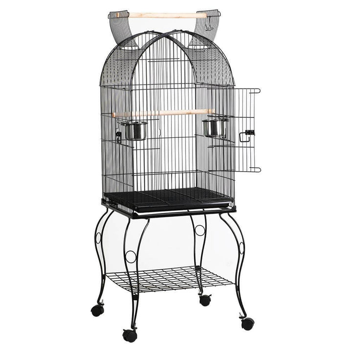 Pawscoo 59-inch Rolling Standing Medium Dome Bird Cage - Pawscoo