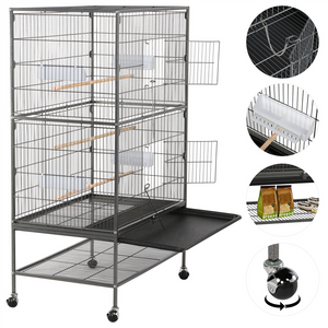 Pawscoo 52-inch Wrought Iron Standing Large Flight Bird Cage - Pawscoo
