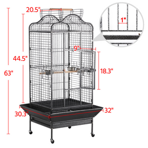 Pawscoo 63-inch Iron Rolling Extra Large Bird Cage - Pawscoo