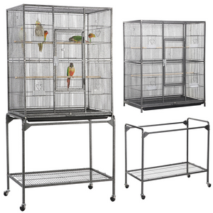 Pawscoo 63-inch Wrought Iron Rolling Large Bird Cage - Pawscoo