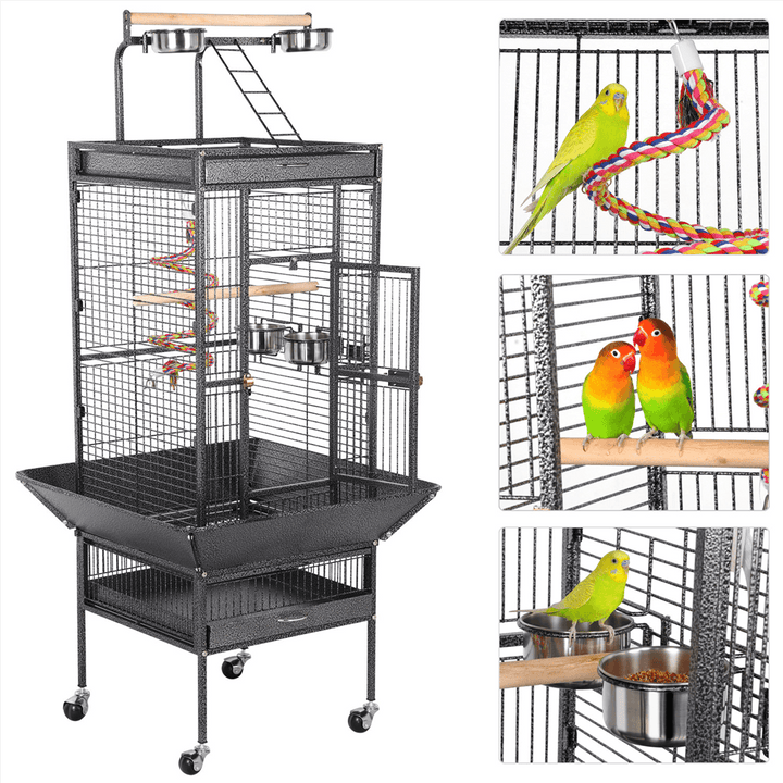 Pawscoo 61-inch Rolling Wrought Iron Large Bird Cages - Pawscoo