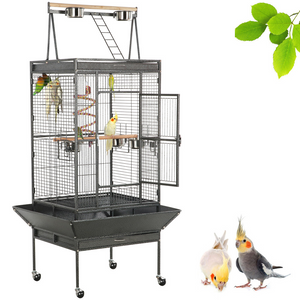Pawscoo 69-inch Wrought Iron Rolling Large Bird Cage - Pawscoo