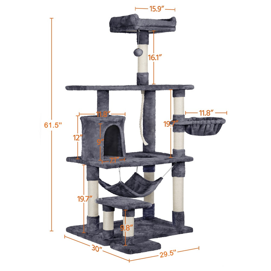 Pawscoo Large Cat Tree Condo 61.5 inch