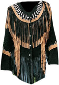 Classyak Women's Western Suede Leather Top Quality Fringed Jacket