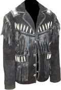 Classyak Men's Western Cowboy Leather Jacket Fringed & Boned
