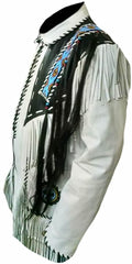 Classyak Men's Cowboy Fringed & Beaded Real Leather Jacket