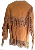 Classyak Men's Western Cowboy Fringed Suede Leather Jacket