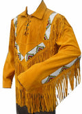 Classyak Western Cowboy Leather Coat, Fringed and Beaded, Super Quality, Xs-5xl