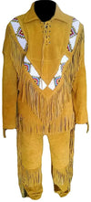 Classyak Men's Western Cowboy Fringed & Beaded Golden Suede Leather Suit