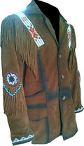 Classyak Men's Western Cowboy Fringed Stylish Coat