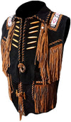 Classyak Men's Cowboy Fringes, Bones & Beads Suede Leather Stylish Vest