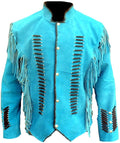 Classyak Men's Native Indian Western Suede Jacket Fringes & Bones