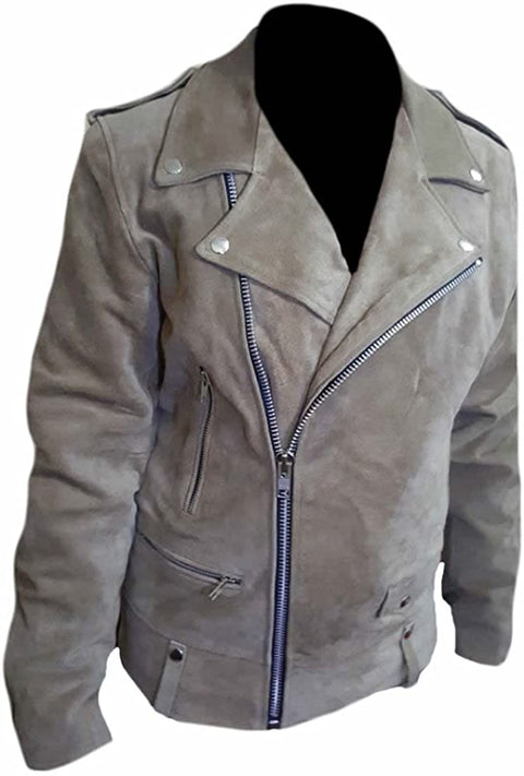 Classyak Men's Fashion Brando Style Suede Leather Biker Jacket