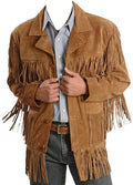 Classyak Men's Fringed Suede Leather Coat Fringed on Front & Back