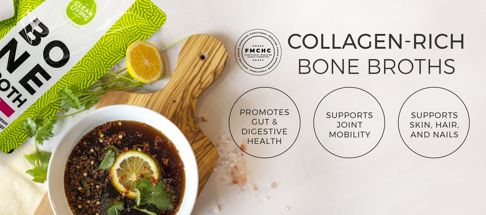 Delicious bowl of collagen-rich organic bone broth to promote gut health, support joints and healthy skin, hair and nails.