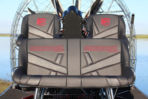 Custom Seat Covers--Black and Gray Vinyl | Diamondback Airboats
