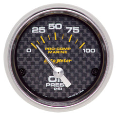 Autometer Electric Oil Pressure Gauge Carbon Fiber Marine