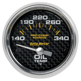 Autometer Electric Oil Temperature Gauge Carbon Fiber Marine