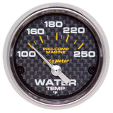 Autometer Electric Water Temperature Gauge Carbon Fiber Marine