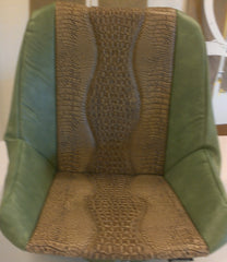 Custom Seat Covers--Green Vinyl and Bronze Gator