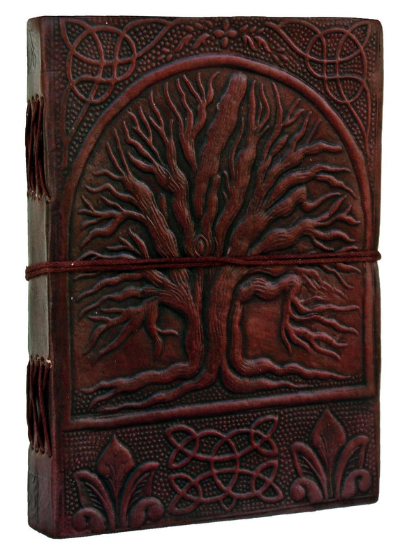 tree of life leather journal, embossed leather notebook, genuine leather journal
