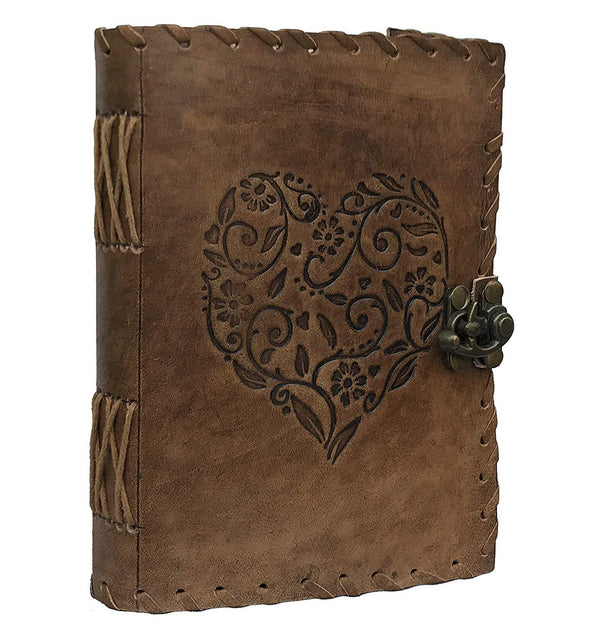 leather bound diary journal, embossed leather notebook, soft leather notebook, leather diary with lock