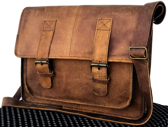 Leather messenger bags for men and women