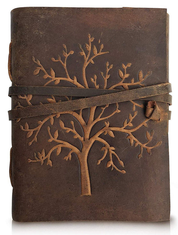 tree of life leather journal, personalised leather journal, embossed leather notebook