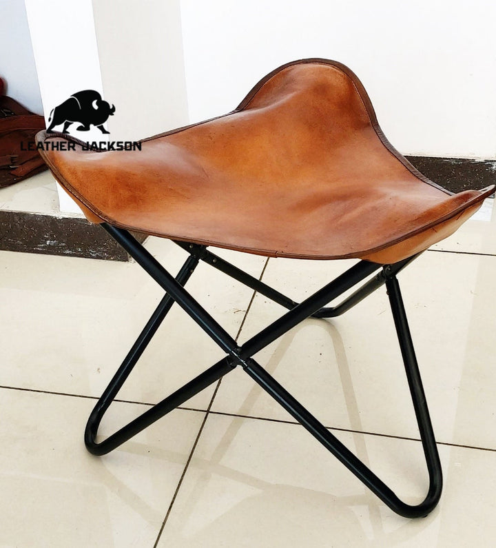 Handmade Butterfly Leather Stool, Foot Rest Stool, leather butterfly stool