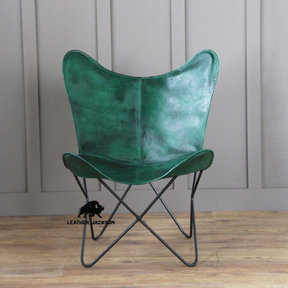 Leather Butterfly Living Room Chairs Green Cover with Powder Coated Folding Iron Frame, genuine leather butterfly chair
