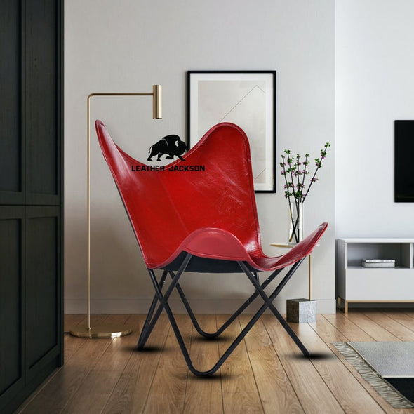 Handmade Genuine Butterfly Leather Chair Red Cover with Powder Coated Folding Iron Frame, genuine leather butterfly chair