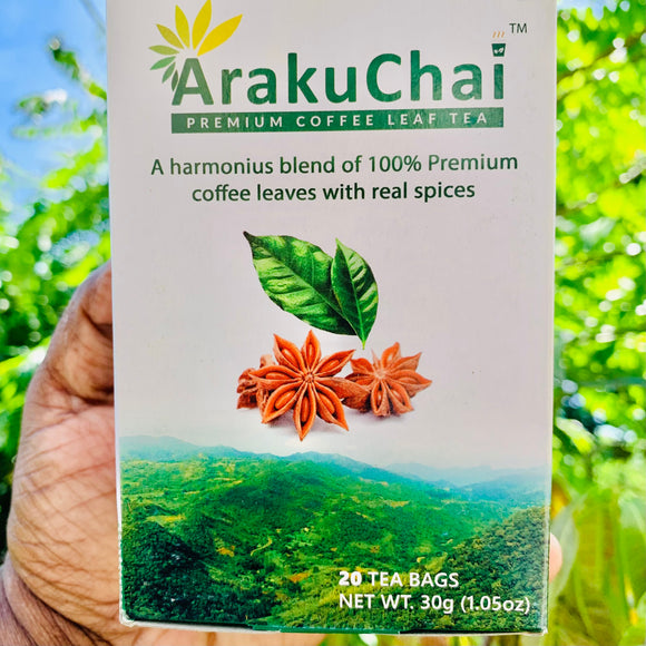 Araku Chai-Coffee Leaves Tea-20 Tea Bags-30 Grams Pack