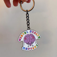 Load image into Gallery viewer, Mental Health Matters (Brain) - Black Chrome Keychain