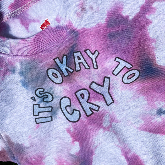 It's Okay To Cry (Tie Dye Edition) - YOUTH Crewneck Sweatshirt