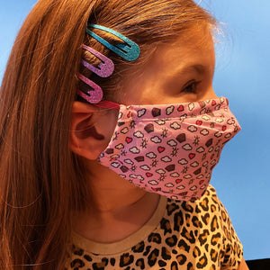 KIDS: Hearts, Rainbows, Clouds and Stars (Pink) - PM 2.5 Filtered Mask