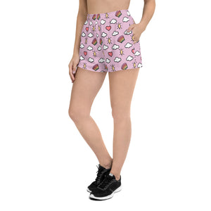Hearts, Rainbows, Clouds and Stars - Women's Athletic Short Shorts