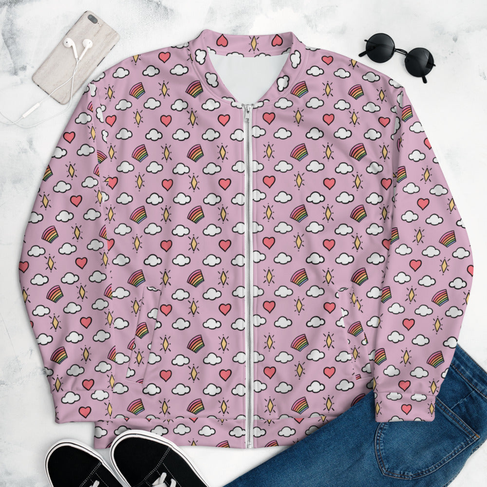 Hearts, Rainbows, Clouds and Stars (Pink) - Unisex Bomber Jacket