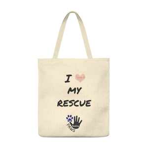 """I love my rescue"" Four Healing Paws Shoulder Tote Bag"