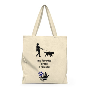 """My favorite breed is rescued"" funny Four Healing Paws Shoulder Tote Bag"