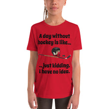 Load image into Gallery viewer, Y7 - A day without hockey Youth Short Sleeve T-Shirt