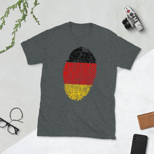 Load image into Gallery viewer, F5 - German Flag Fingerprint Short-Sleeve Unisex T-Shirt