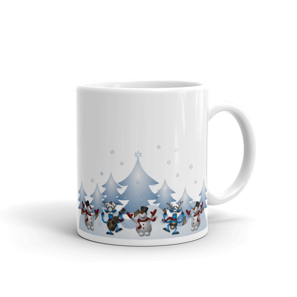 H - Dancing Snowmen & Reindeer in Snow Mug