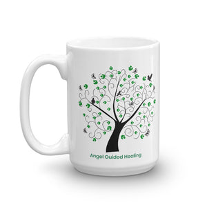 1 - Angel Guided Healing - Green Tree of Life with Birds Mug