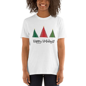 H - Happy Holidays Christmas Tree Short-Sleeve Unisex T-Shirt