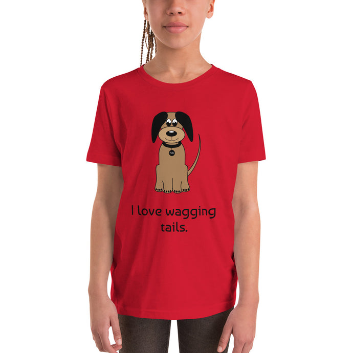 Y2A - I love wagging tails dog Youth Short Sleeve T-Shirt