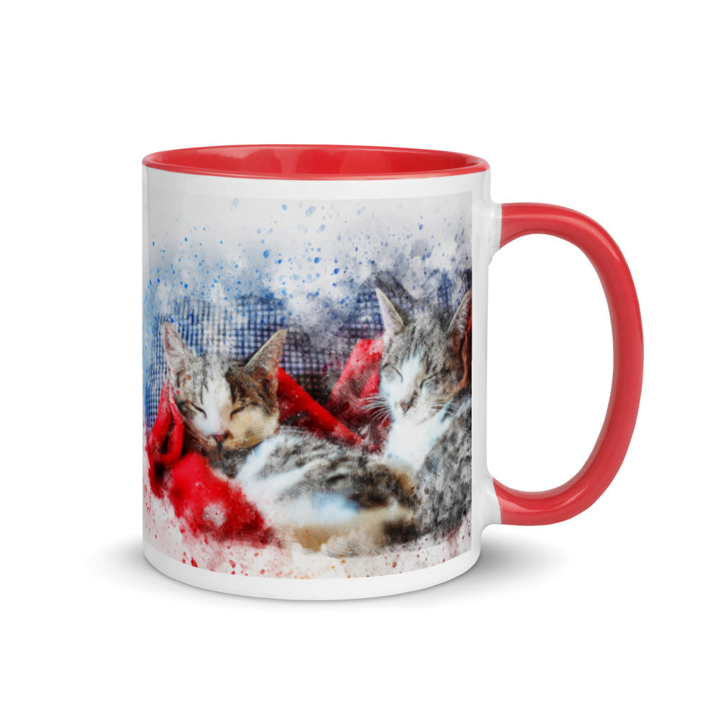 Cat Holiday Mug with Color Inside