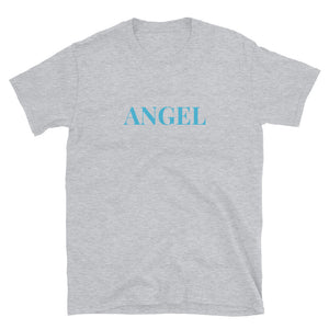 Angel Guided Healing - Blue ANGEL Wings on Back Short-Sleeve Unisex T-Shirt